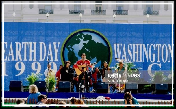 Native American musician Robby Romero, of the group Red Thunder, performs onstage an Earth Day rally on the US Capitol grounds, Washington DC, April 22, 1990. (Photo by Mark Reinstein/Corbis via Getty Images)