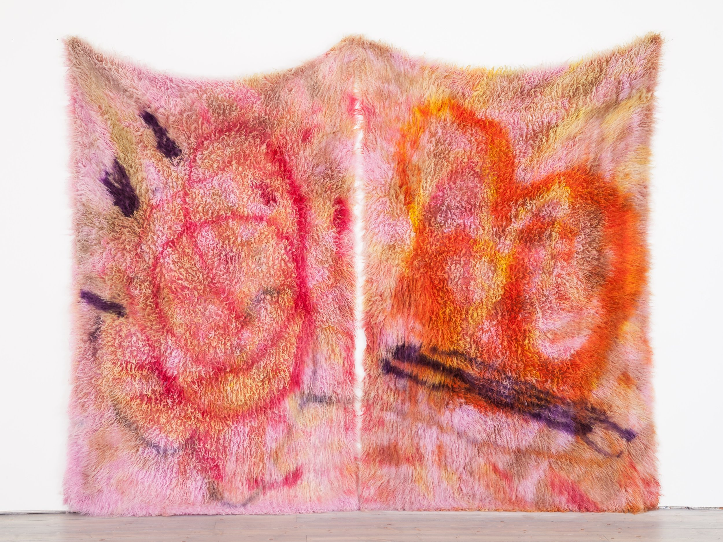 Diluted Delusion,  2014, logwood, acid dye, dye stripper, wool rug, 10'x 8'