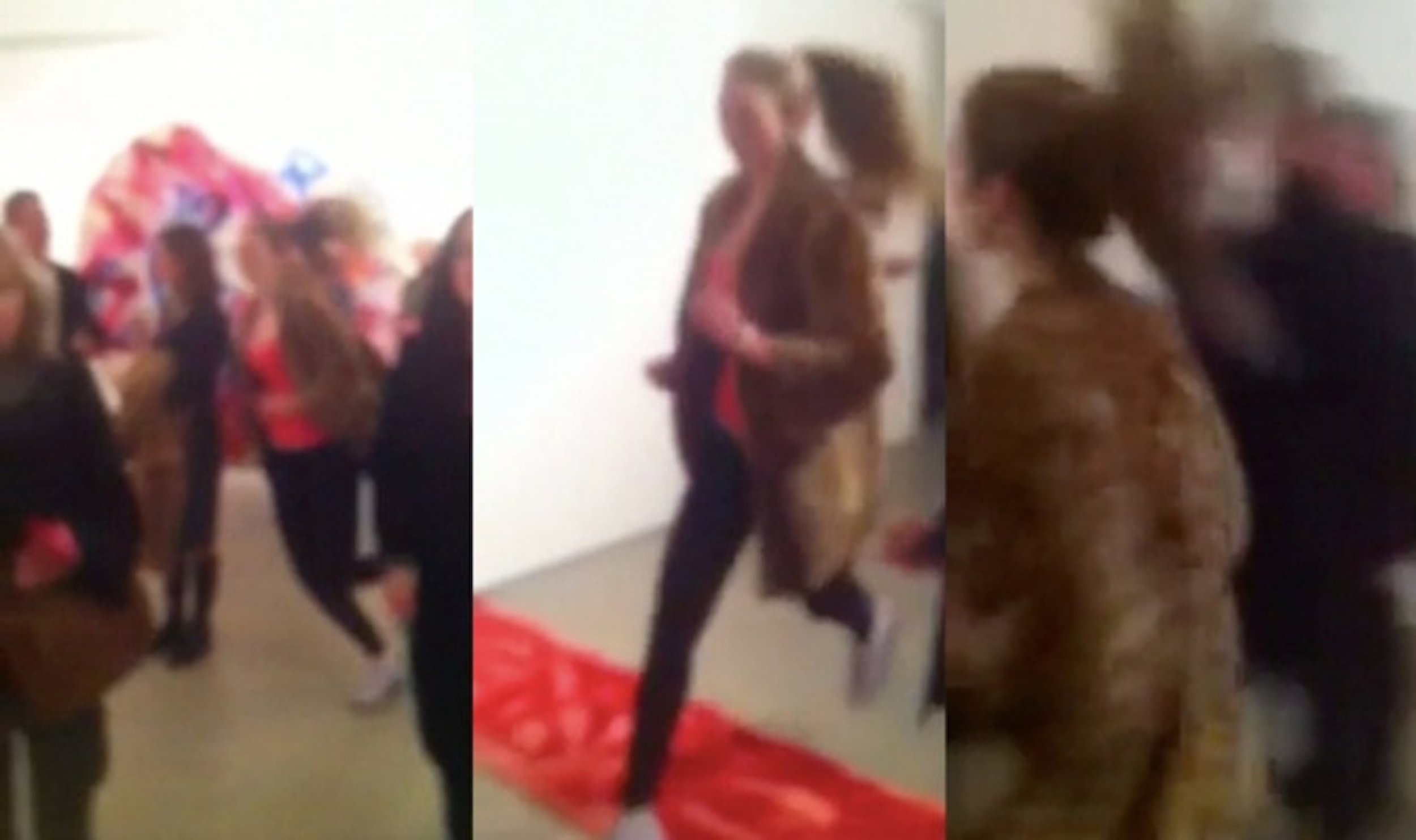Opening Night performance of  Woman Running with Ocelot Fur, 2 014  Wherein a personal trainer, as a quick mirage, runs through the gallery space providing a temporary compositional element.