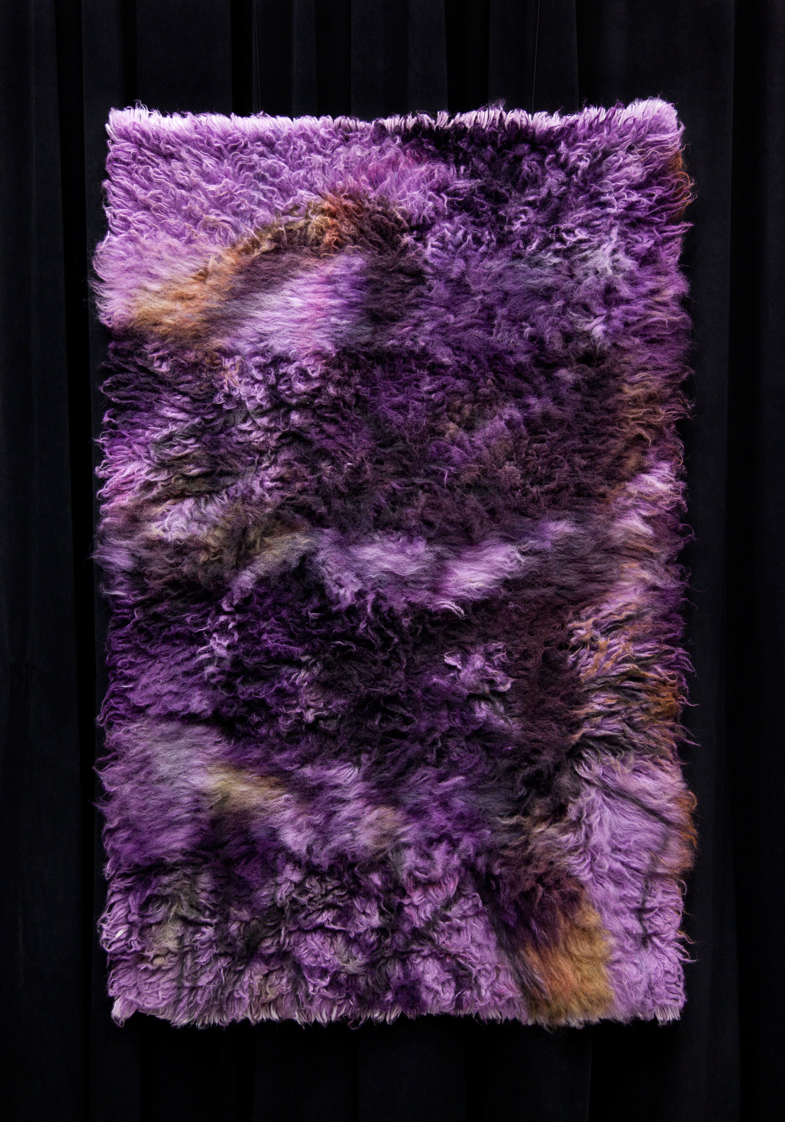 Iron and Steel, 2017,  wool rug, acid dye, hairspray, chalk.4'x6'