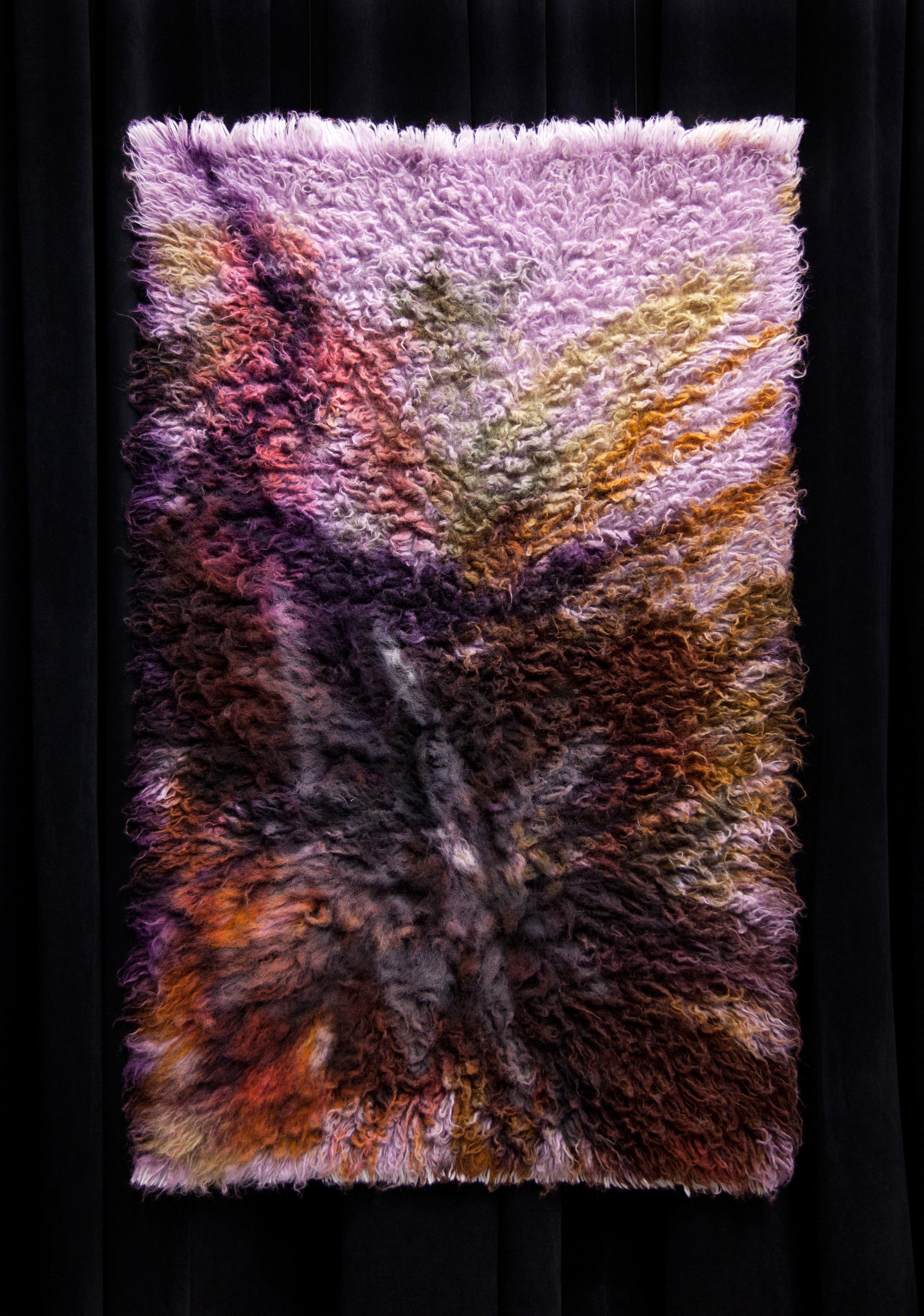 Straw and Clay, 2017,  wool rug, acid dye, hairspray, chalk.4'x6'