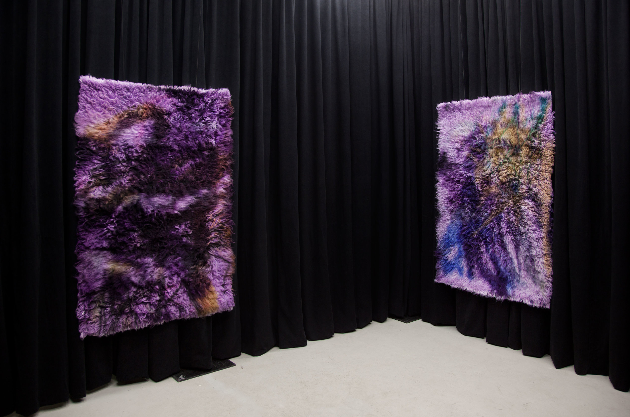 (Left)  Iron and Steel, 2017,  wool rug, acid dye, hairspray, chalk. (Right)  Silver and Gold, 2017,  wool rug, acid dye, hairspray, chalk.