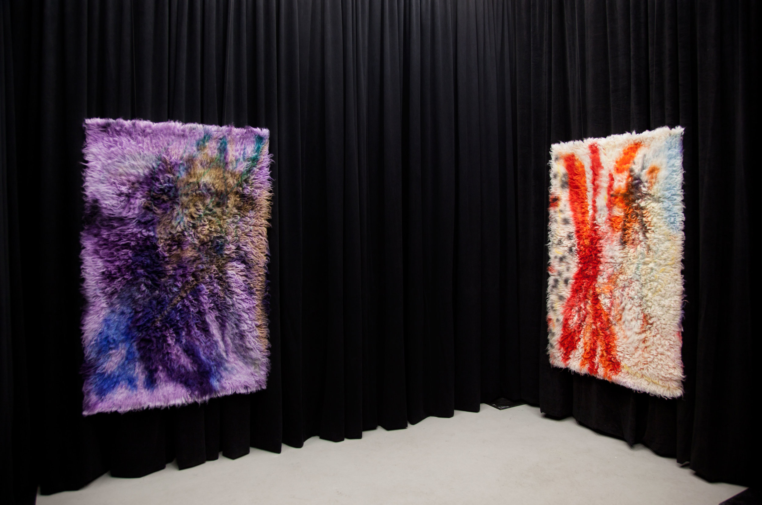 (Left)  Silver and Gold,  2017, wool rug, acid dye, hairspray, chalk. (Right)  Sticks and Stones, 2017,  wool rug, acid dye, hairspray, chalk.