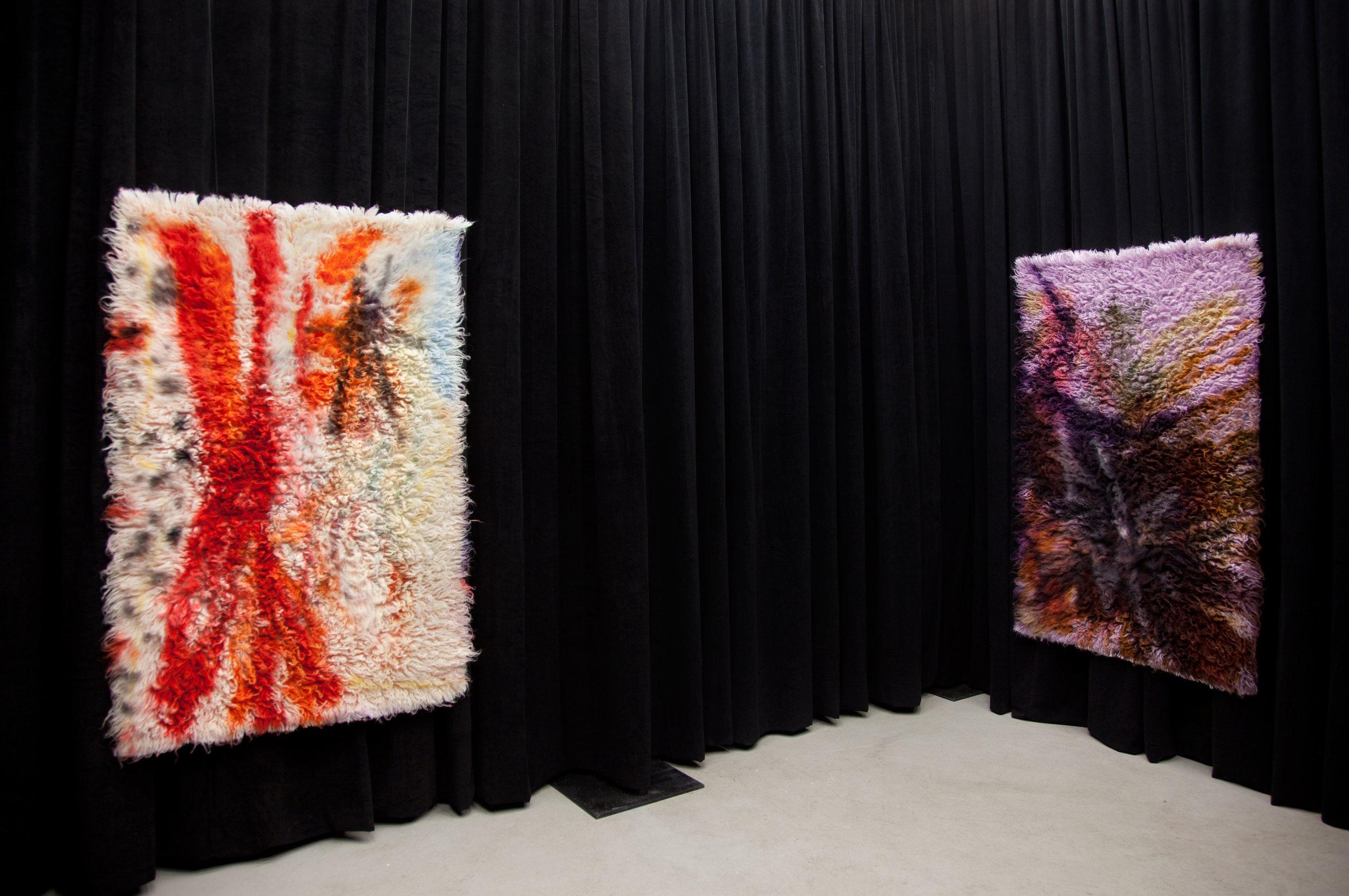 (Left)  Sticks and Stones , 2017, wool rug, acid dye, hairspray, chalk. (Right)  Straw and Clay, 2017,  wool rug, acid dye, hairspray, chalk.