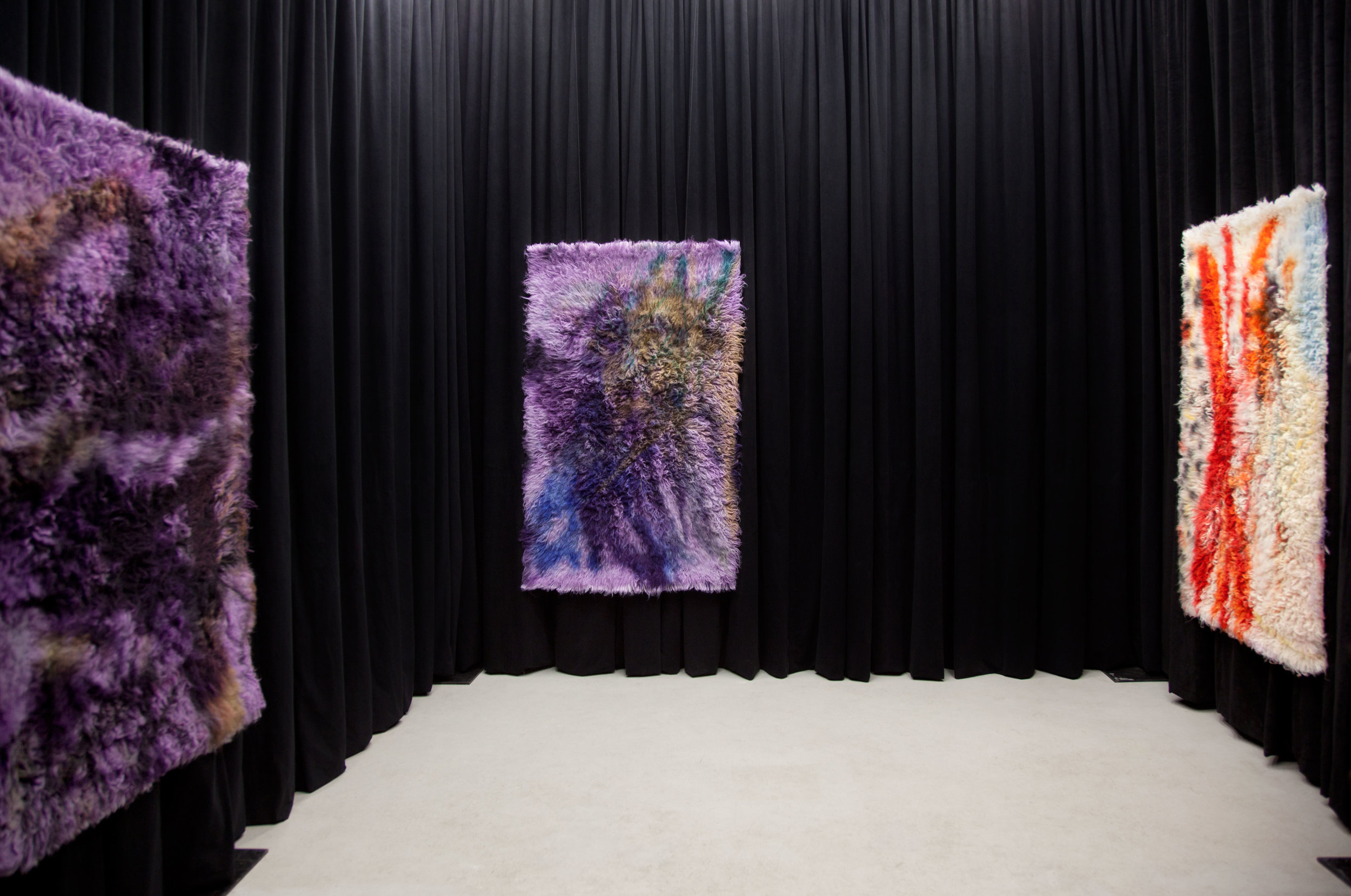 2017 Installation of dyed rug painting series hung over rented room dividers at DUPLEX  http://duplexduplex.ca/it-is-hard-to-tape-a-fish.html  Vancouver B.C. Canada