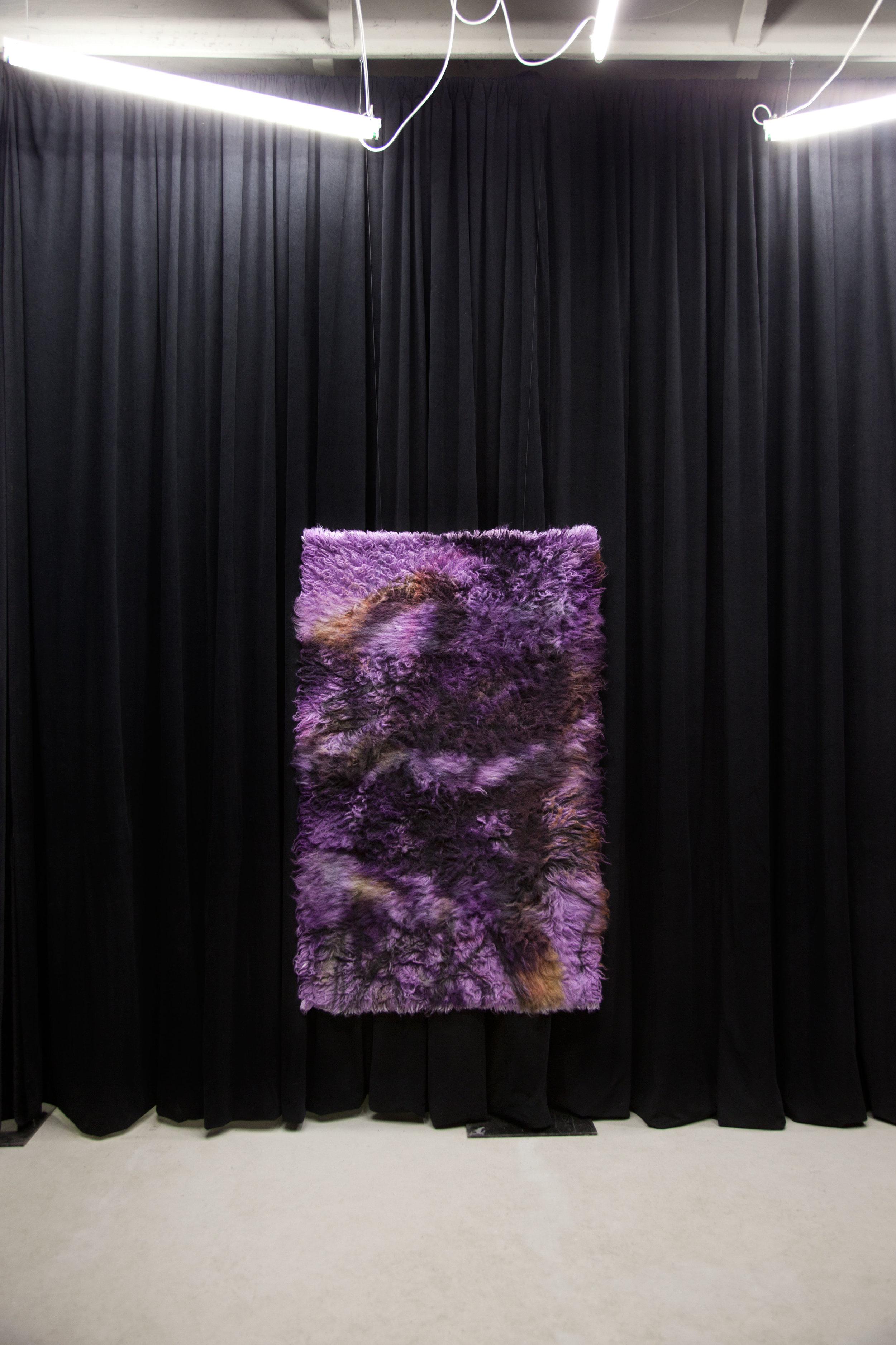 Iron and Steel.  2017, wool rug, acid dye, hairspray, chalk.4'x6'