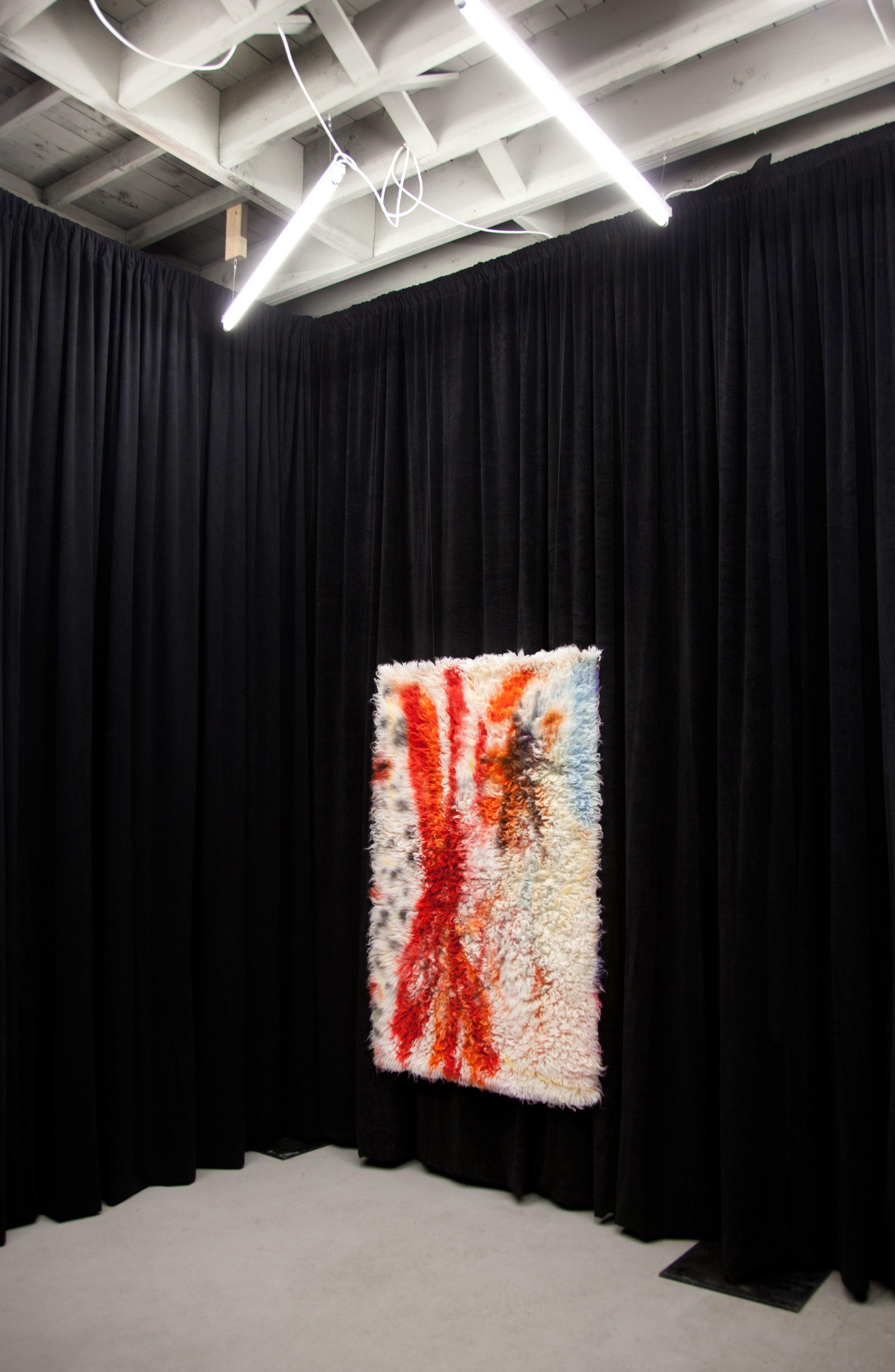 Sticks and Stones, 2017,  wool rug, acid dye, hairspray, chalk.4'x6'