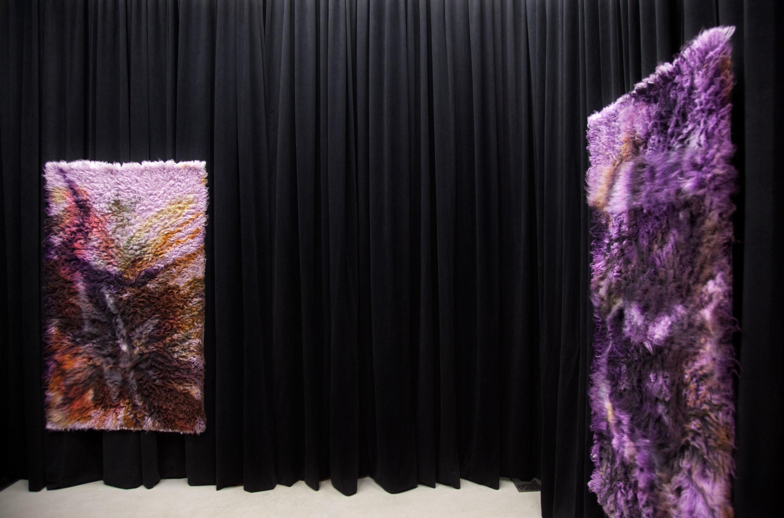 (Left)  Straw and Clay, 2017,  wool rug, acid dye, hairspray, chalk. (Right)  Iron and Steel, 2017, w ool rug, acid dye, hairspray, chalk.