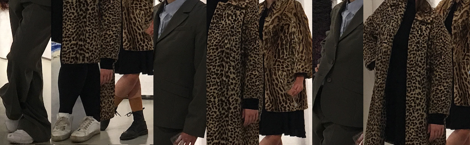 Opening night performance of  Actor wearing ocelot fur coat imitating gestures of actor wearing synthetic leopard fur coat imitating artist in wool business suit.  2017