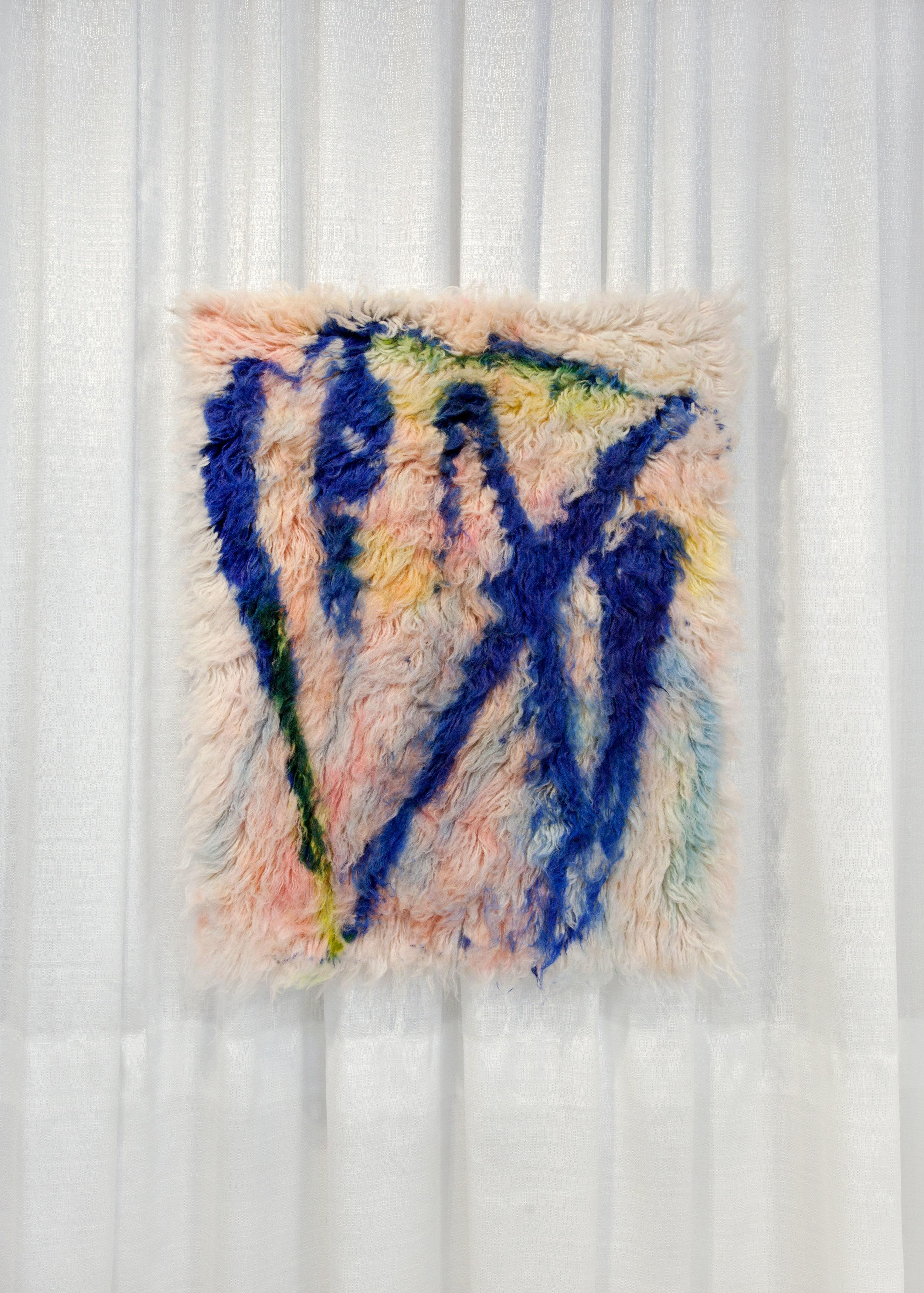 I am also rather still,  2017, wool rug, acid dye, hairspray, chalk.2' x3'