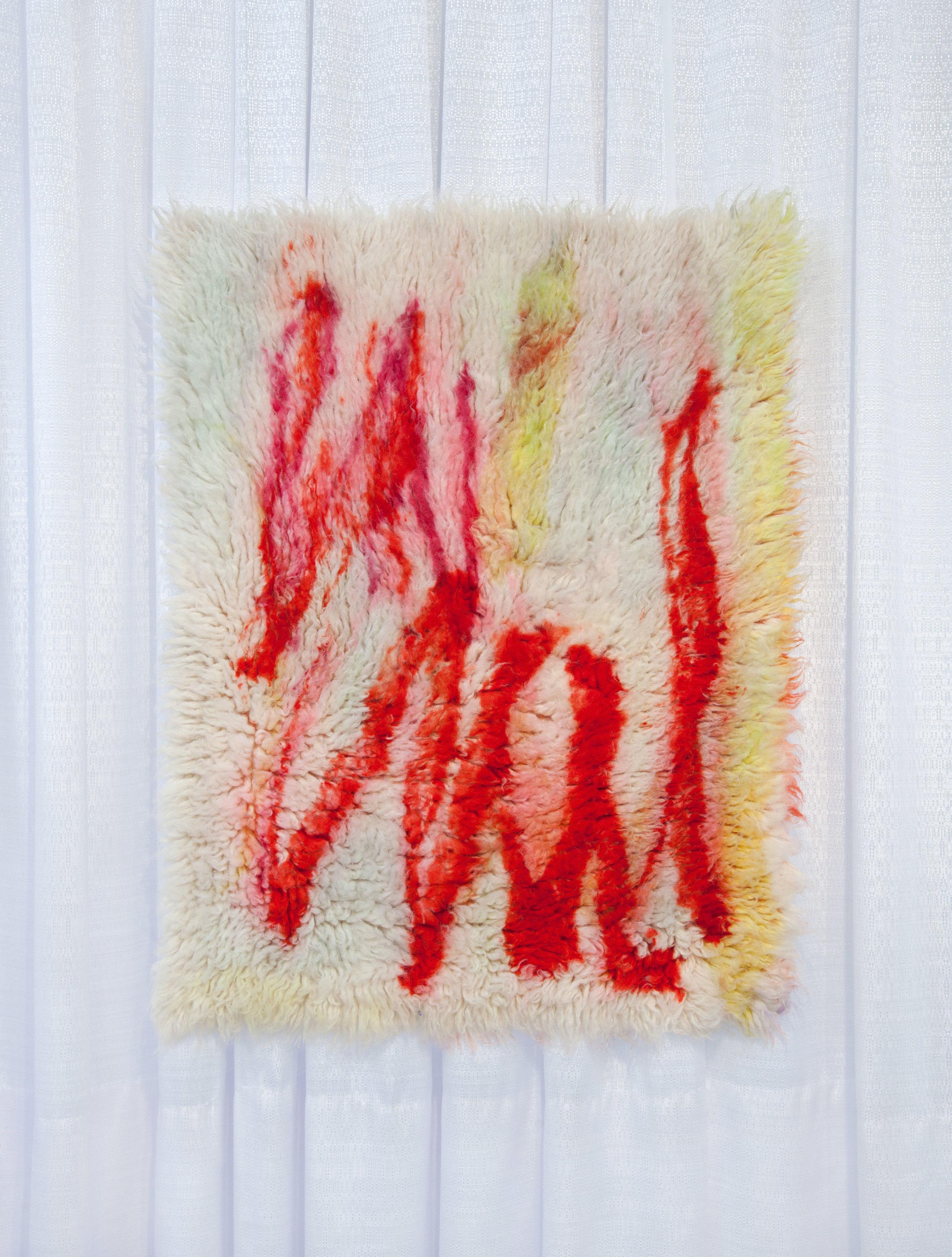 A letter is a platform, 2017, w ool rug, acid dye, hairspray.2' x3'