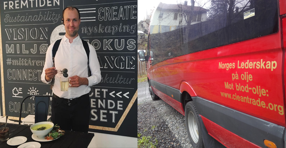 Jarl Tollefsen - Jarl Tollefsen painted Clean Trade messages on his fleet of electric busses, which transport people on the southeastern coast of Norway. Tusen takk, Jarl, for spreading the word!
