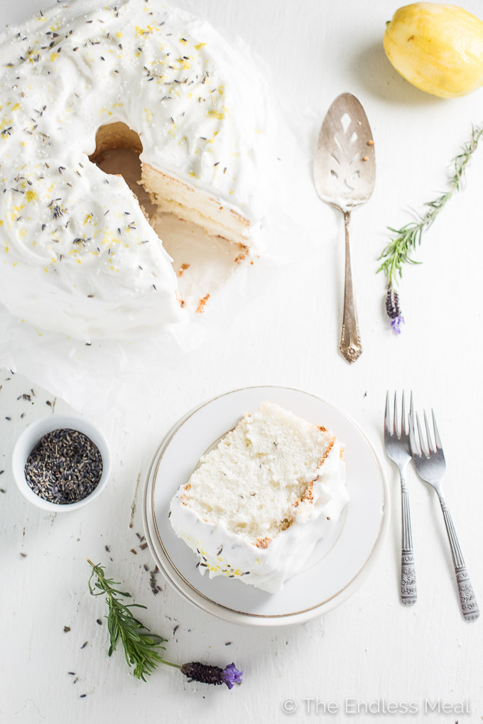 Lemon & Lavender Angel Food Cake -