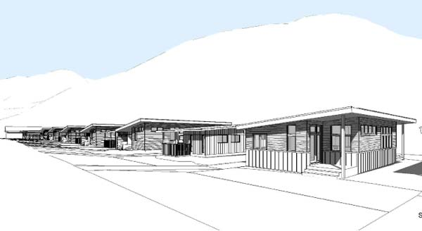Graphic courtesy of CAST architecture  Houses in the Canyon Street Neighborhood in Twisp will be single-story, each with a small fenced yard, outdoor storage and parking.