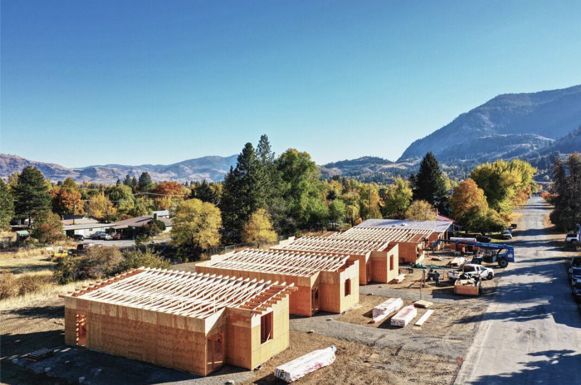 2018 saw the beginning of construction, applications for homeownership, development of policies and procedures to support the organization, hiring of additional staff and increased community outreach to share the Community Land Trust model of homeownership with the Methow Valley. In October 2018, the frames of the first homes were complete in both neighborhoods.