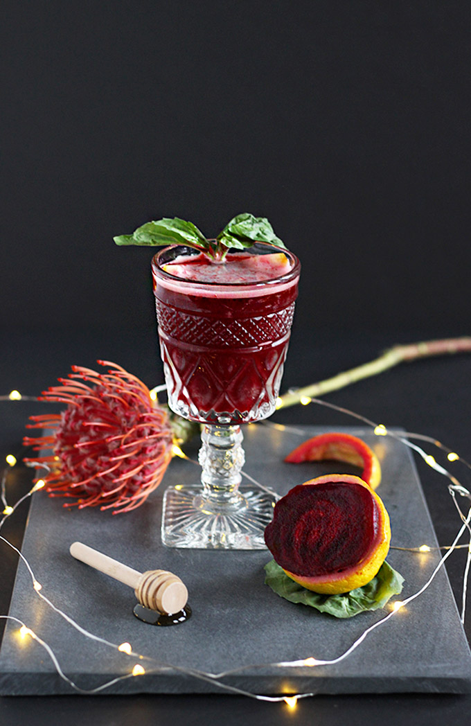 Beet basil cocktail made with vodka is sweet + earthy. A healthier brunch cocktail with a punch of beet benefits! #easycocktail #5ingredients #vodka #beets.jpg