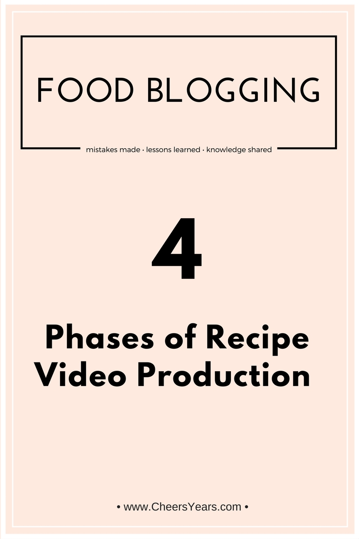 4 Phases of Recipe Video Production | A helpful article by CheersYears.com about the 4 phases of recipe video production and her process #recipevideos #foodvideography