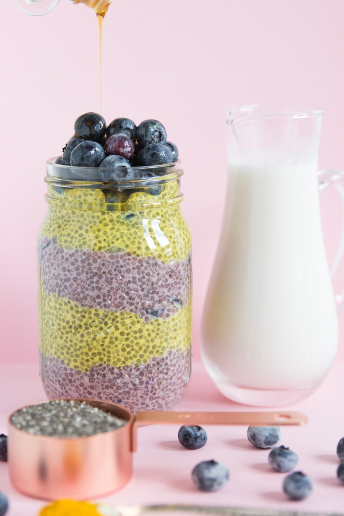 Blueberry-Turmeric Chia Pudding topped with maple syrup is anti-inflammitory goodness! #chiapudding #vegan.jpg