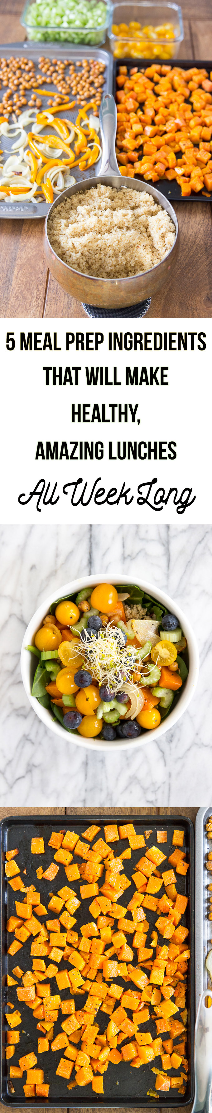 5 Meal Prep Ingredients that will make Healthy, Amazing lunches all week long in just 30 minutes! #mealprep #healthylunches