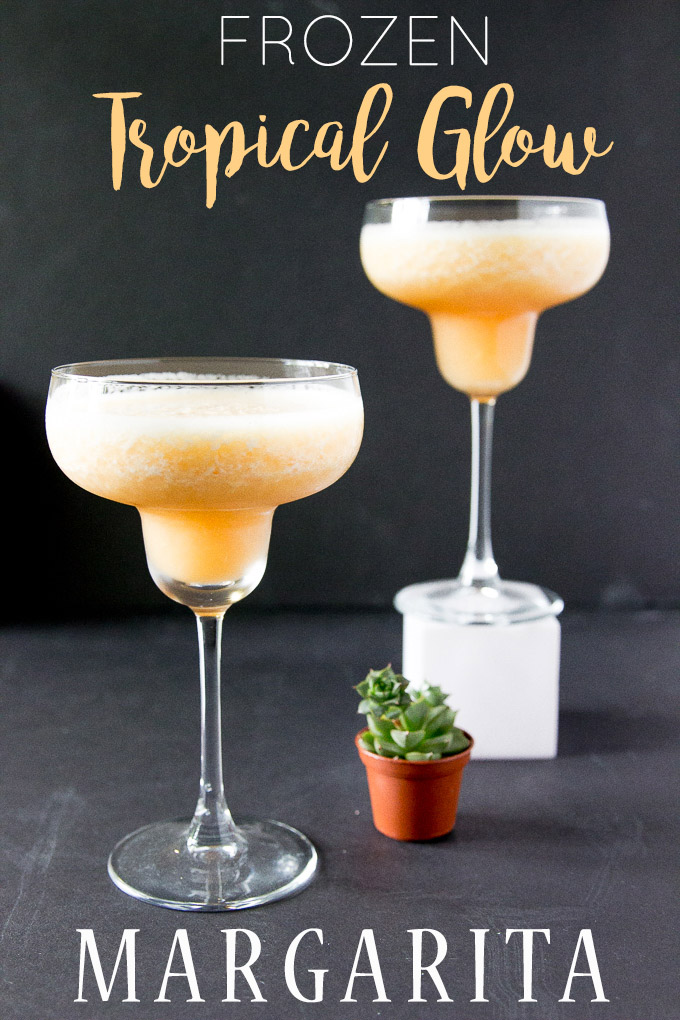 Frozen Tropical Glow Margarita made with frozen pineapple and grapefruit juice! So refreshing and perfect for a summer girl's drink! #frozenmargarita #cocktail #tropicaldrink