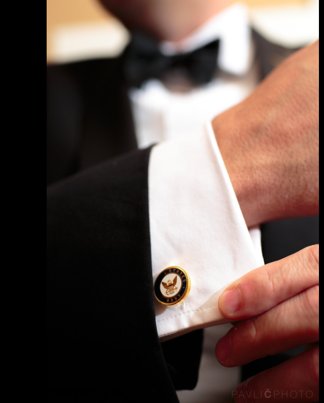 The smallest of details can make the biggest of impacts; these Navy cufflinks were worn by the groom; a veteran wanting to subtly pay tribute to his time of service. Not every detail has to be loud or noticeable by everyone; small choices such as these add to the continuity of the theme and can have special meaning to only those that are aware.