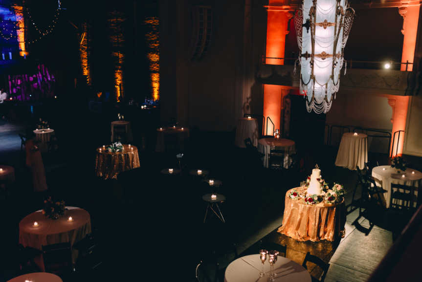 Although this space is large and seemed ominous; I played into that feature as it gave a grandiose and dramatic backdrop for the intimate gathering. The floor plan and vendor placement contained the guests so they didn't feel lost, but also were able to take in the vastness of the space. Captured by:  Dark Roux