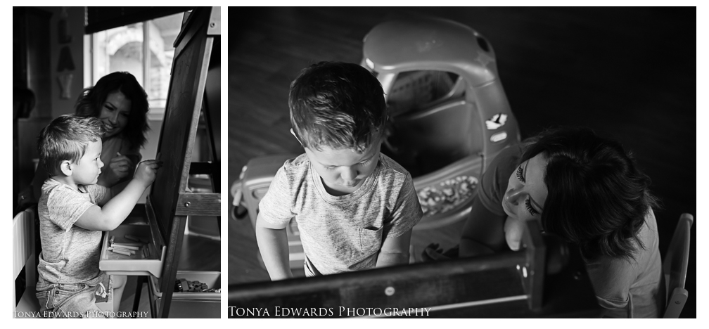 Tonya Edwards | Lifestyle Family Photographer | mother and son making art