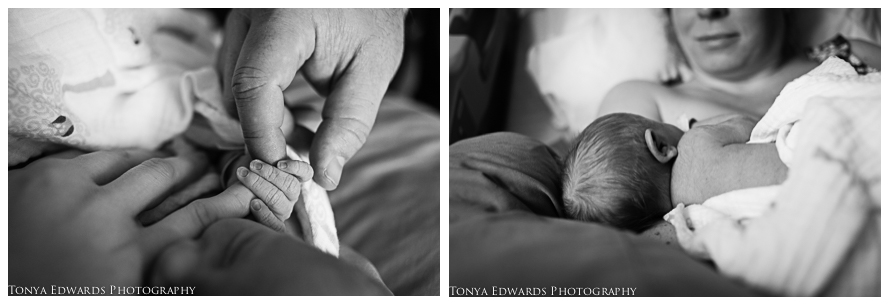 Tonya Edwards | Oroville Newborn Photographer | first time parents holding newborn baby hand and mother breastfeeding baby girl