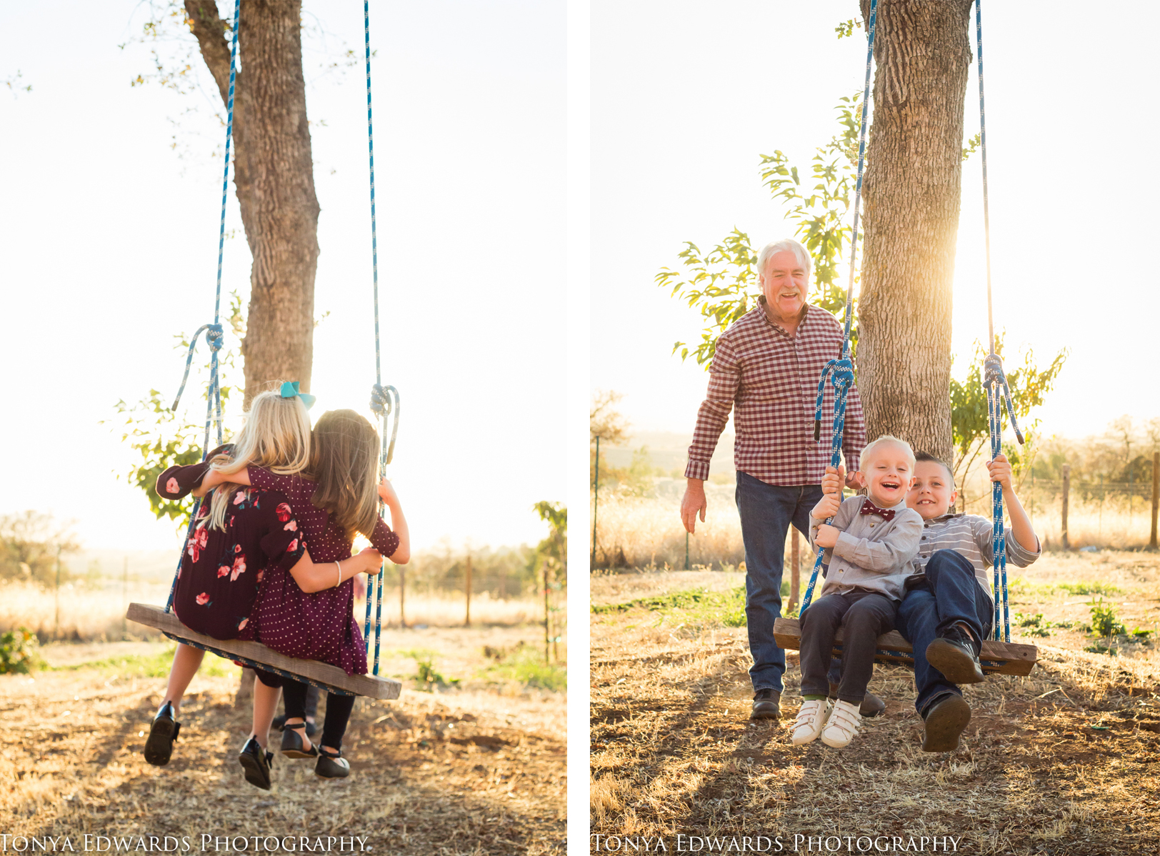 Tonya Edwards | Oroville Photographer | kids swinging on a swing hanging from big oak tree pushed by grandpa