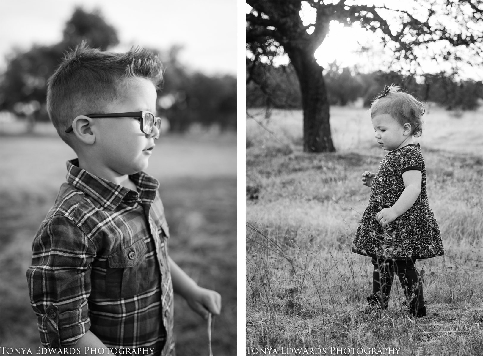 Tonya Edwards | Oroville Family Photographer | young boy with glasses and little girl in a dress black and white
