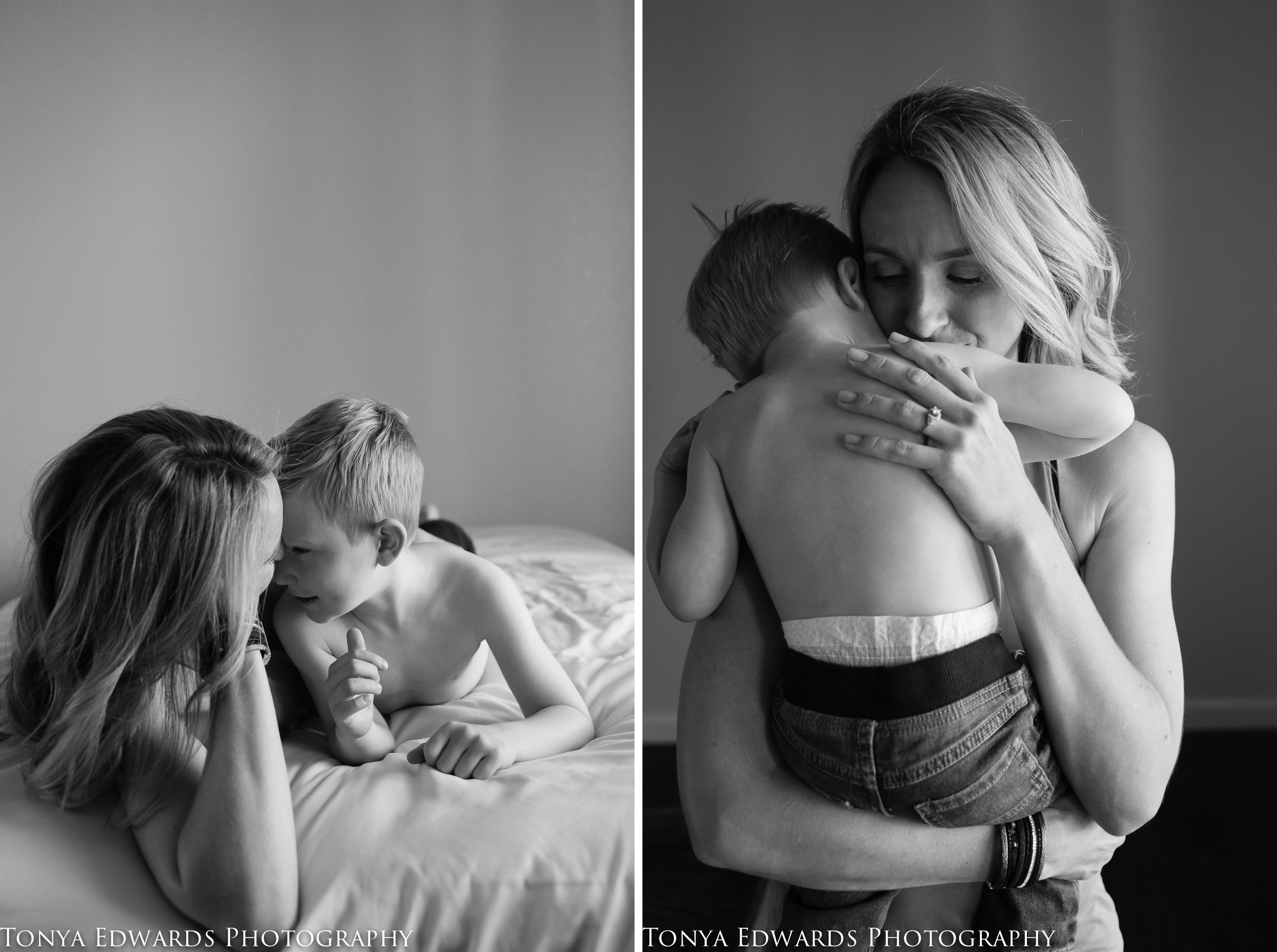 Tonya Edwards | Oroville Photographer | Boy mom with her sons sharing precious moments in black and white
