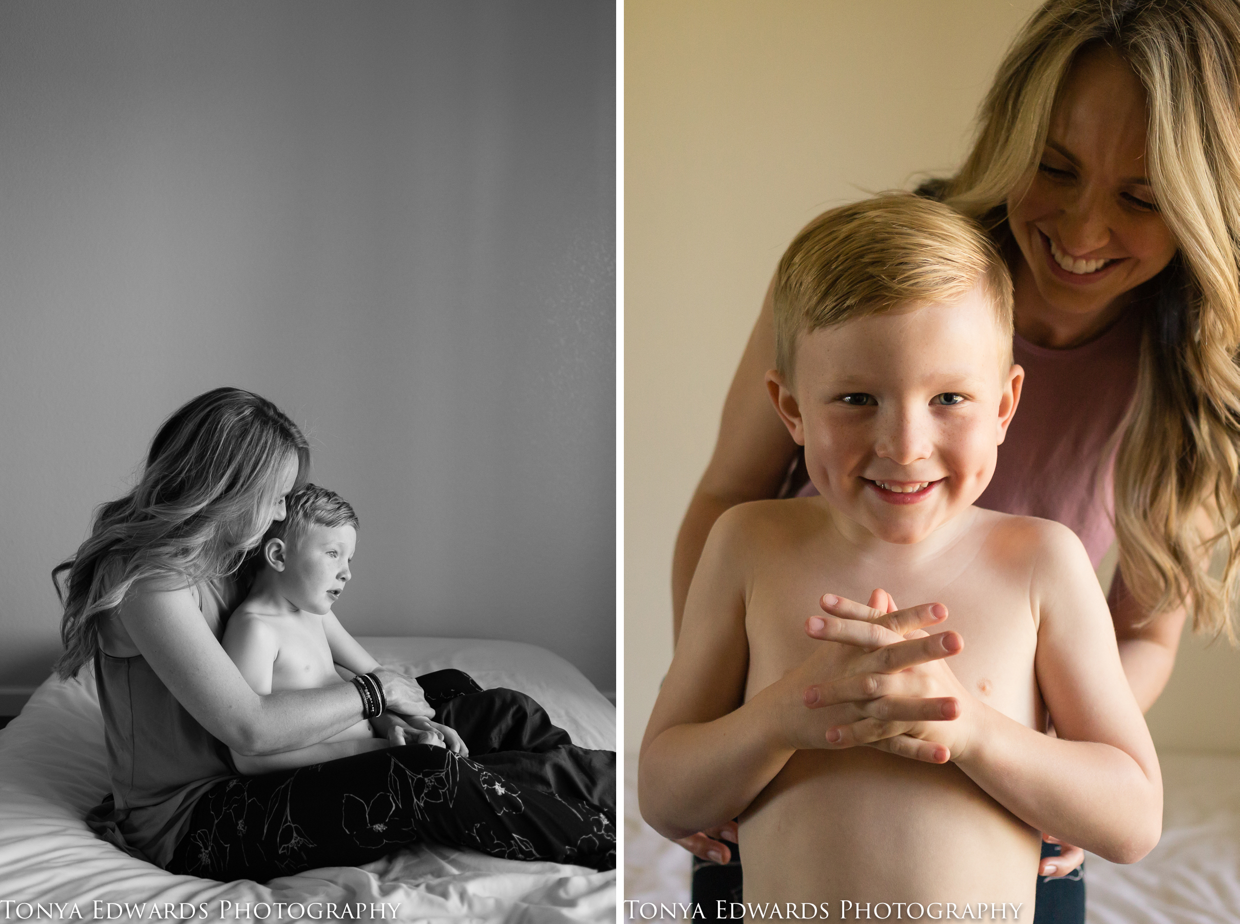 Tonya Edwards | Oroville Photographer | preschool son with his mama playing games and snuggling on the bed in natural window light
