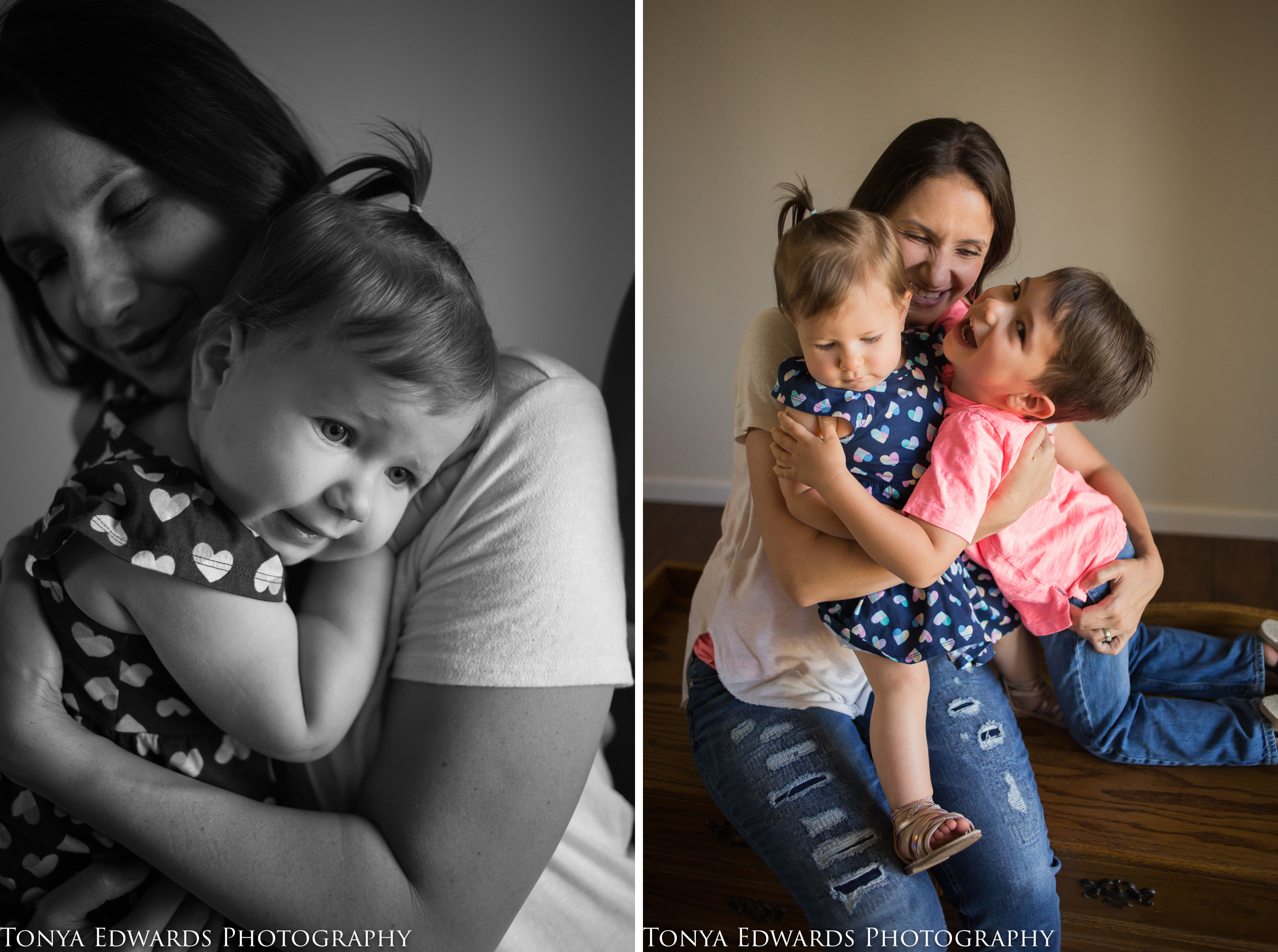 Tonya Edwards | Oroville Photographer | indoor window light mini session with mother son and daughter sitting on a hope chest hugging