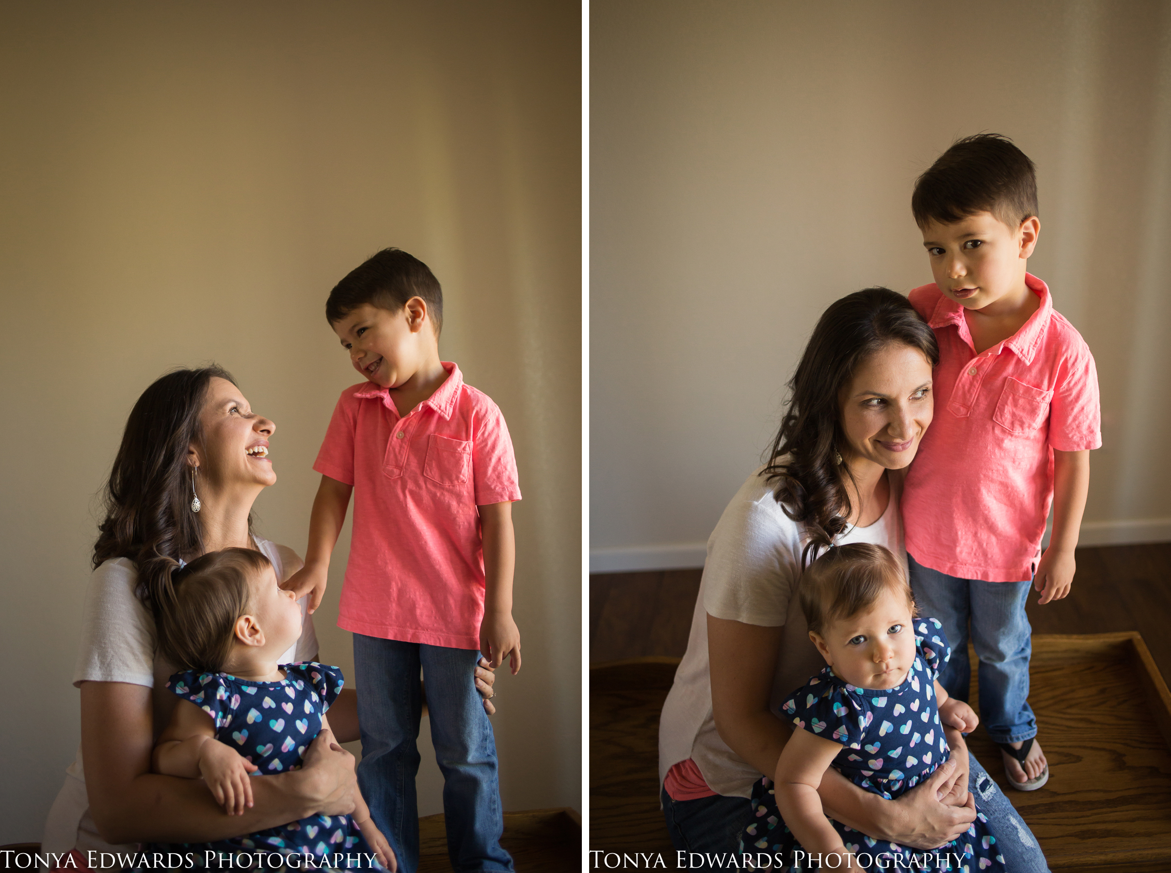 Tonya Edwards Photography | Oroville Photographer | motherhood photos at mini session with mama daughter and son indoors in natural light