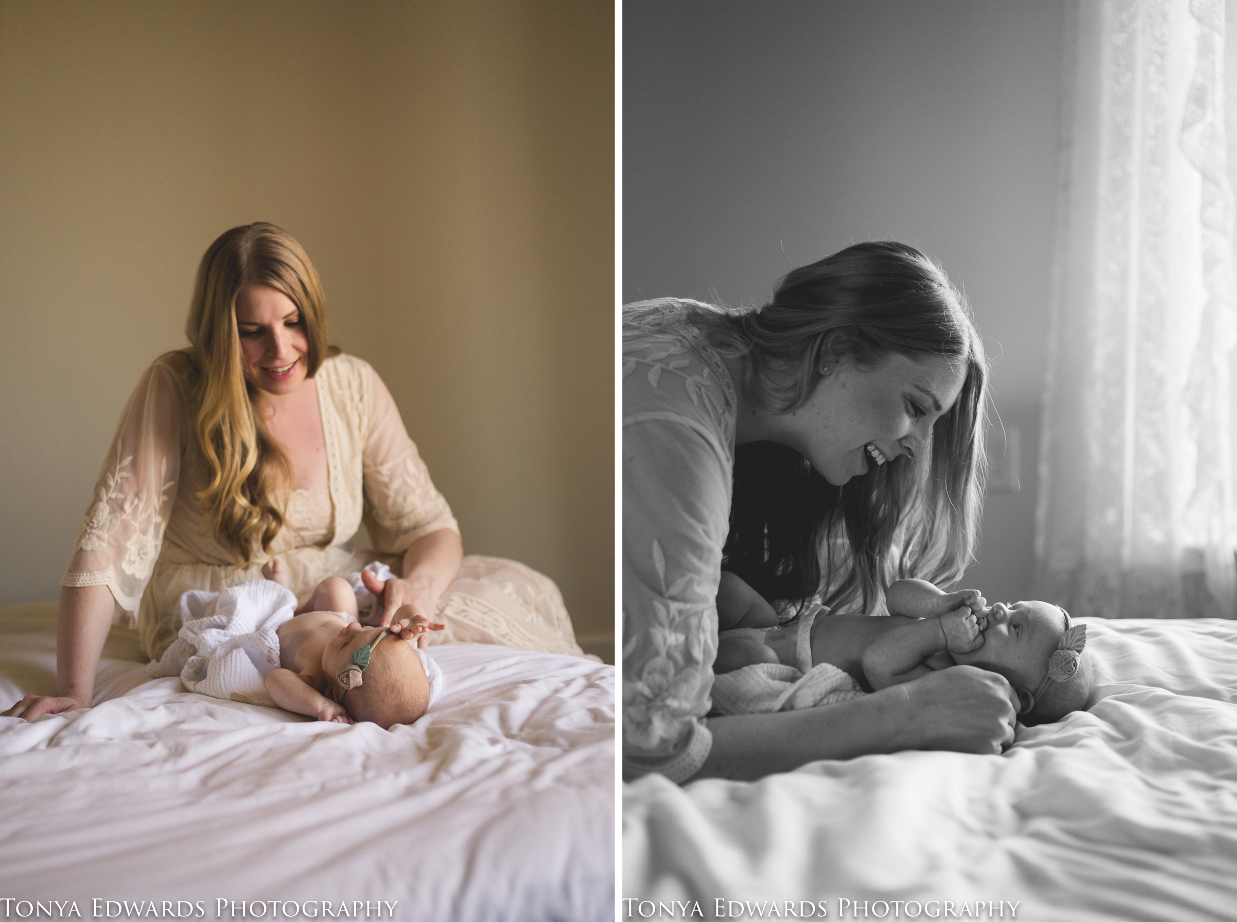 Tonya Edwards | Oroville Photographer | mother and baby girl smiling and snuggling in window natural backlight