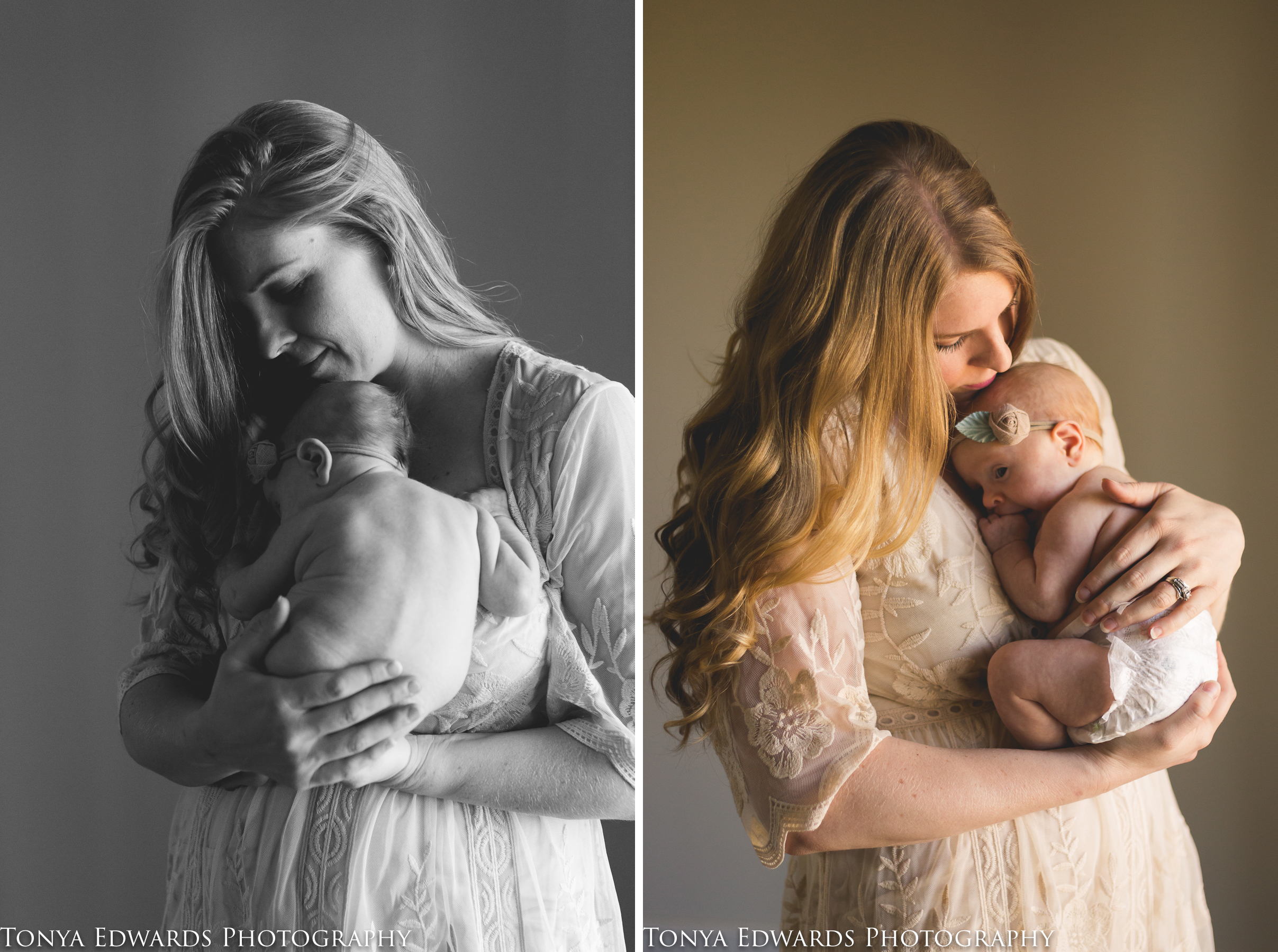 Tonya Edwards | Oroville Family Photographer | mother with long blond hair in beaded gown holding infant baby girl in her diaper in soft window light