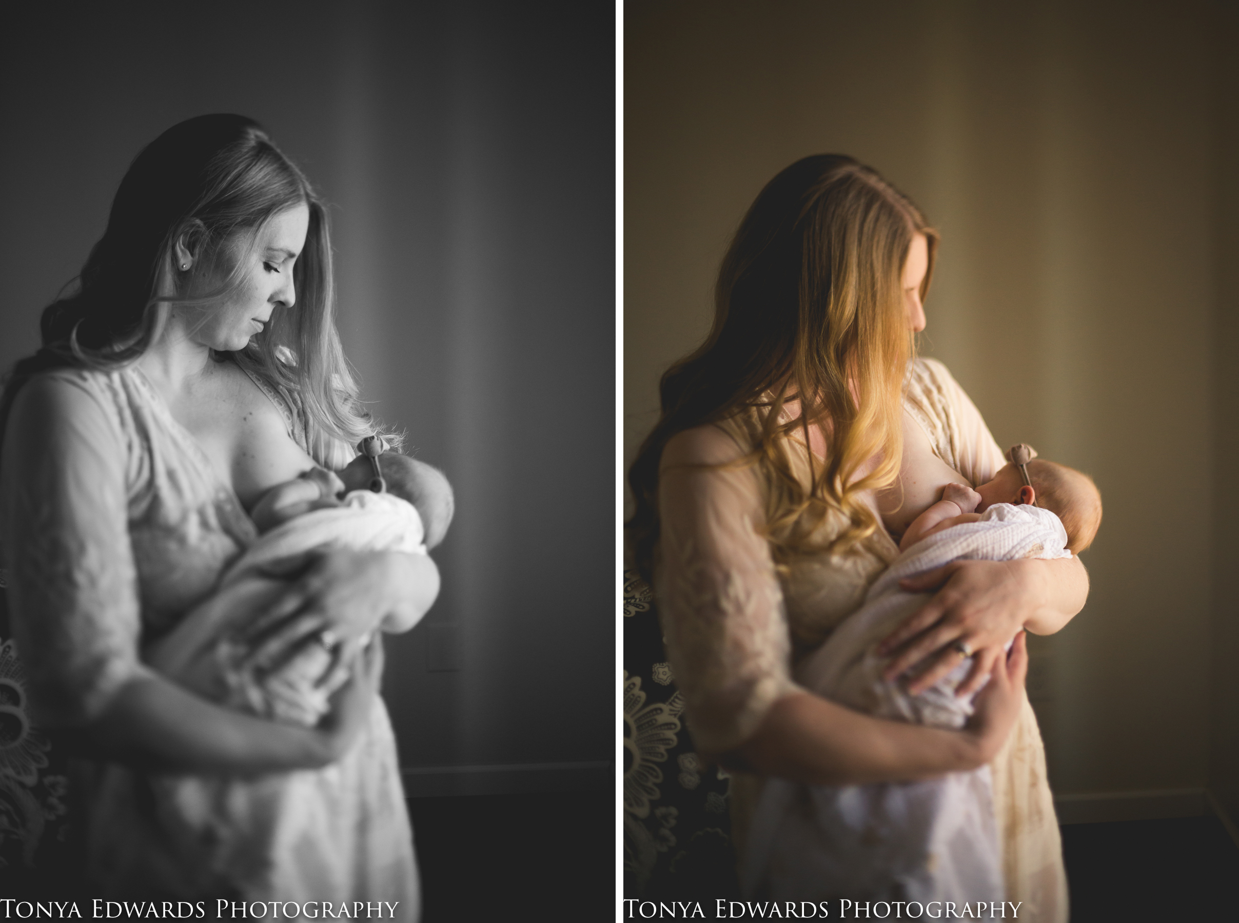 Tonya Edwards | Oroville Photographer | mom with long blonde hair standing breastfeeding baby girl in beaded gown in window light