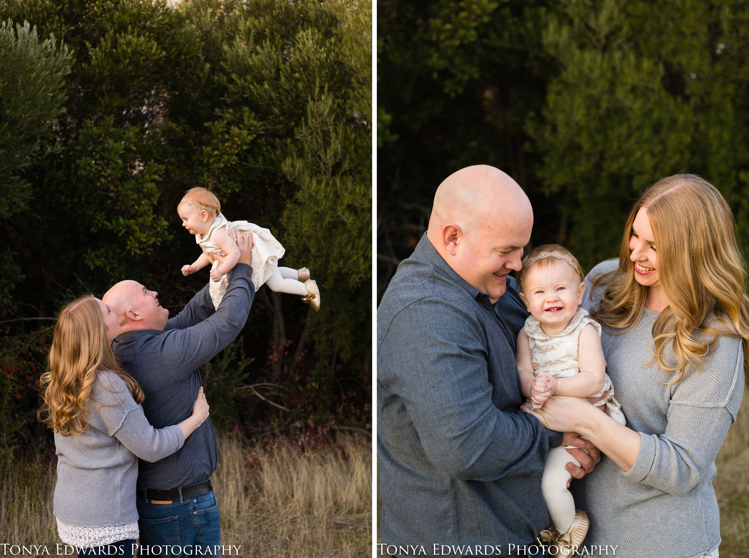 Tonya Edwards Photography | Oroville Photographer | lifestyle photo session mother father with baby daughter in the winter