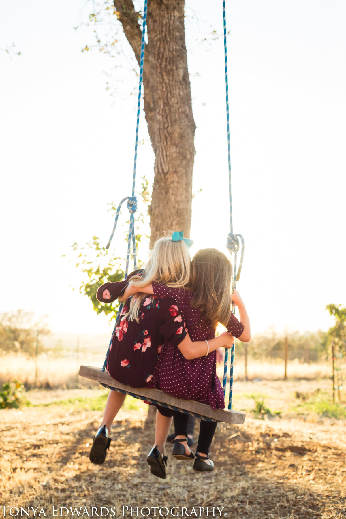 Tonya Edwards | Oroville Family Photographer | girl cousins on a tree swing at sunset