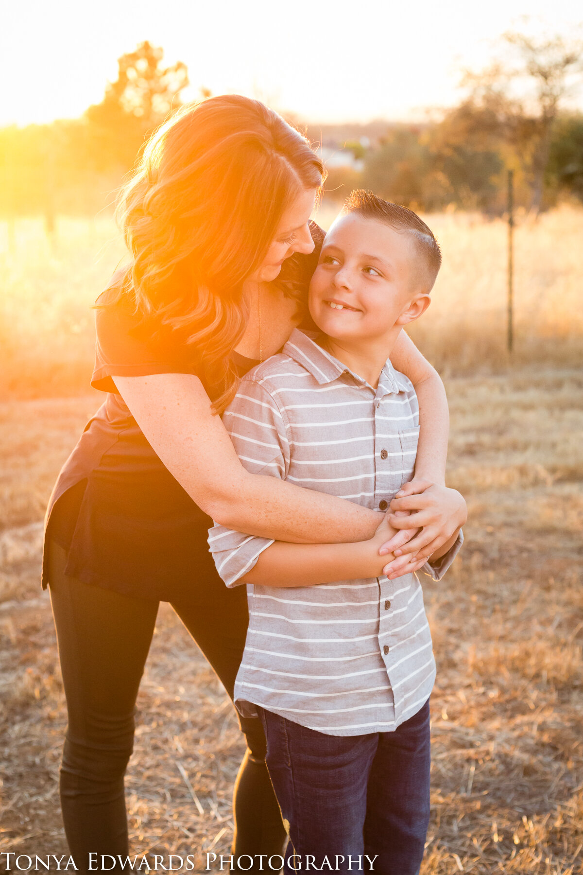 Tonya Edwards | Oroville Family Photographer | mother son portrait at sunset