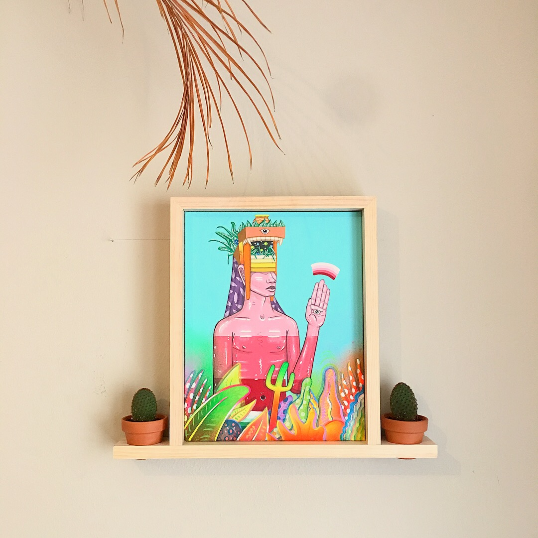 Dallas artist, Drigo, experimenting with different canvas frames. Custom made with cactus pot inserts. The painting contains ancient inspired beings derived from different cultures like Aztec, Mongolian, Inca, and different African tribes. The painting boasts colorful plants and poppy colors throughout.