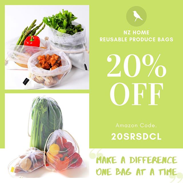 As part of our Summer Sale no. 2 we're offering a mighty 20% off our Reusable Produce Bags. Head to https://www.amazon.com/gp/mpc/A1QYQCWGRCJ5DD and use the code: 20SRSDCL at the checkout! #reusablebags #producebags #nomoreplasticbags