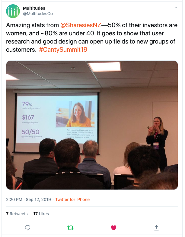 Image shows Brooke Roberts, co-founder and CEO of Sharesies, presenting in front of a room of people. On the wall next to her is a slide that sad: 79% [of investors] are under 40 years old, $167 is the average deposit, and the gender engagement has been balanced.