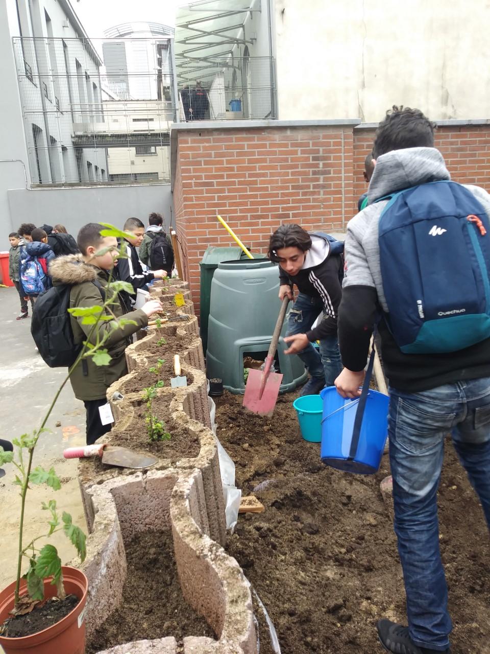 Installation d'un compost et de plantations