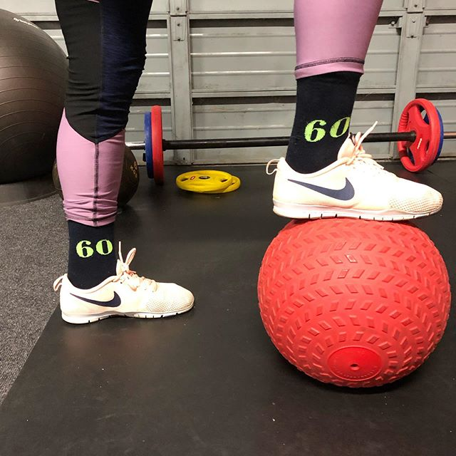 My client rocked up in these socks the other day, and it made me think 🤔  I've got two clients who recently turned 60, as well as PT sessions they both take part in other exercise regularly such as classes, tennis & walks.  What shape will you be in when you're 60?  Did you know weight training helps prevent osteoporosis and muscle atrophy?  Remember you're never too old to start.  Stay active people!