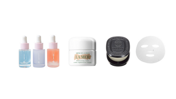 THE BEAUTY ESSENTIALS:   Glossier's Serum Super Pack ,  La Mer's Creme de la Mer Moisturizing Cream   Diptyque Solid Perfume ,  Dr Jart Hydrating Sheet Mask