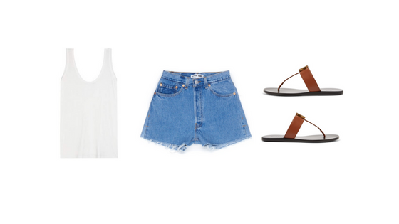 CASUAL HAWAII UNIFORM:   The Row Thomaston Tank ,  RE/DONE Denim Shorts ,  Gucci Marmont Leather Sandals