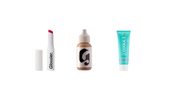 EVERY DAY BEAUTY:   Glossier Generation G Lip Tint ,  Glossier Perfecting Skin Tint ,  COOLA Cucumber Matte Face Sunscreen