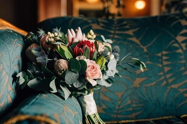 Beautiful moody shot of Graces native style bouquet, inside the homestead of Quamby Estate. A stunning May wedding we styled for Grace and Connor . . . . @clint_and_bethanie @mekafloral  #adorneventstyling #tasmanianeventstylist #eventstyling #weddingstyling #floralstyling #ceremonystyling #modernwedding #tasmaniandestinationwedding #eventstylist #weddingbouquet #weddingflowers #bridebouquet