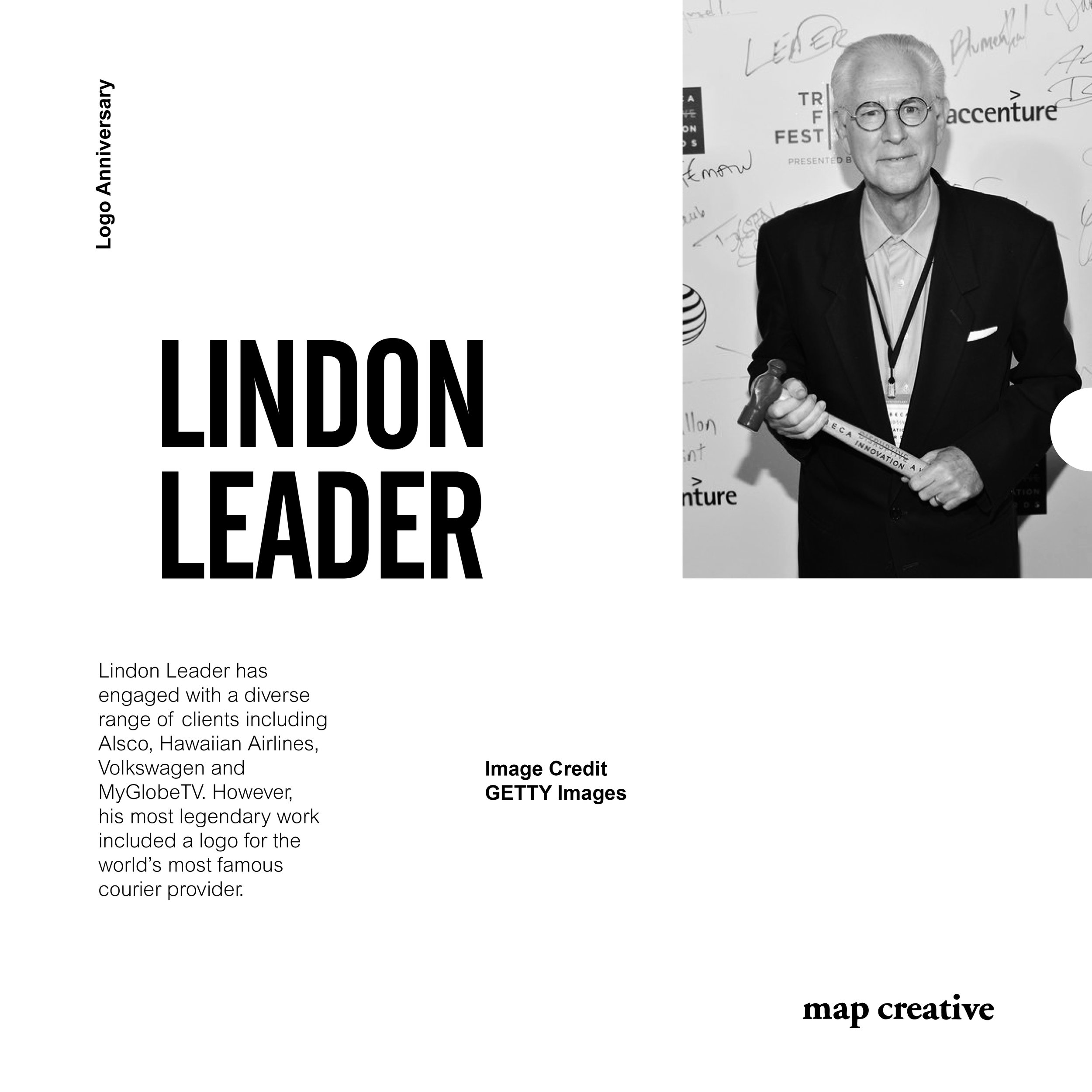 """Lindon Leader - Today we take our hats off to Lindon Leader celebrating 24 years since designing the iconic FedEx logo. Leader began by manipulating the spacing between each letter, particularly the capital E and lowercase x, """"I saw a white arrow start to appear and thought there's something there"""". Asserting the arrow implied accuracy and speed and provided a real """"aha moment"""". Lindon and associates presented their concepts to FedEx executives set on not mentioning the hidden arrow to road test its application. Incredibly, company CEO and Founder Fred Smith was the only one to see the arrow immediately and fell in love with the design. Fast forward and the logo has won over 40 design awards and assumed its position as one of the greatest trademarks of contemporary graphic design."""
